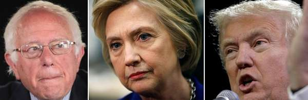 Democratic presidential candidate Senator Bernie Sanders (D-VT), left,