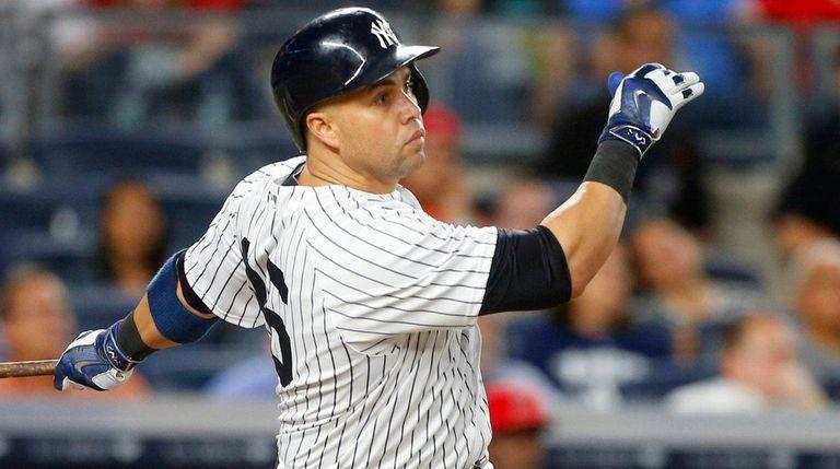 Carlos Beltran of the New York Yankees follows