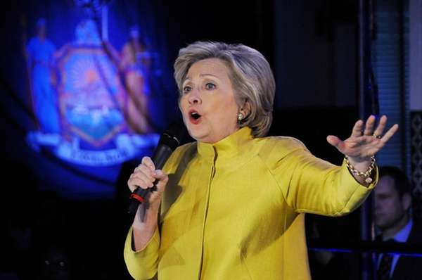 Democratic presidential candidate Hillary Clinton speaks during a