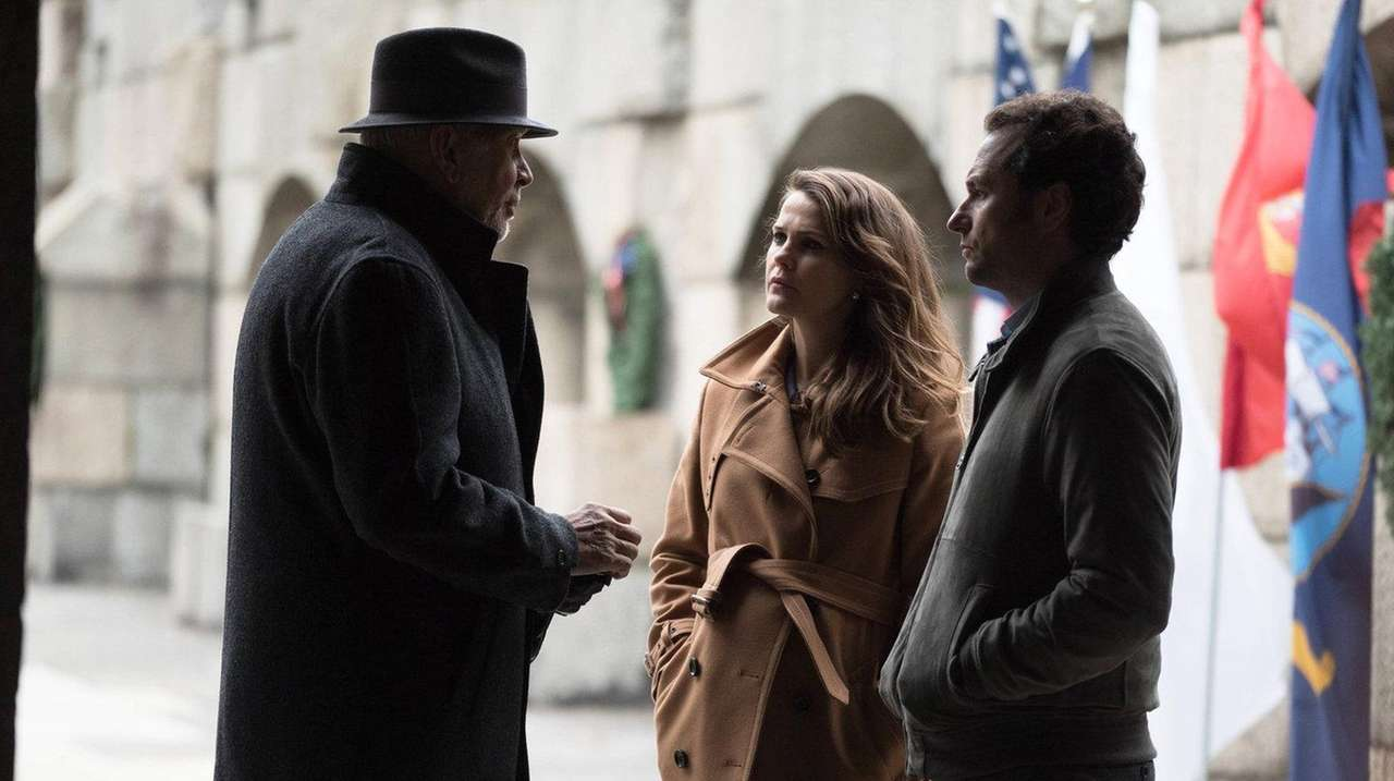 Frank Langella, left, Keri Russell and Matthew Rhys