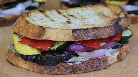 Grilled vegetables and balsamic mayonnaise make this a