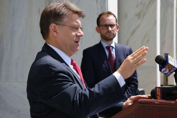 Dennis Saffran, attorney for Reclaim New York, stands