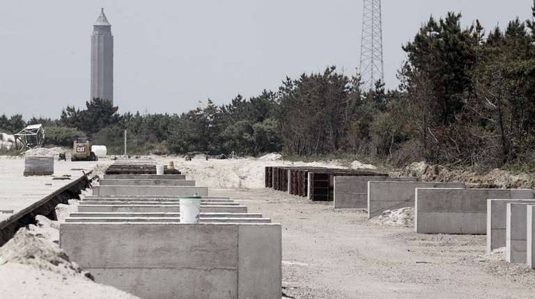 The bases for solar panels are installed at