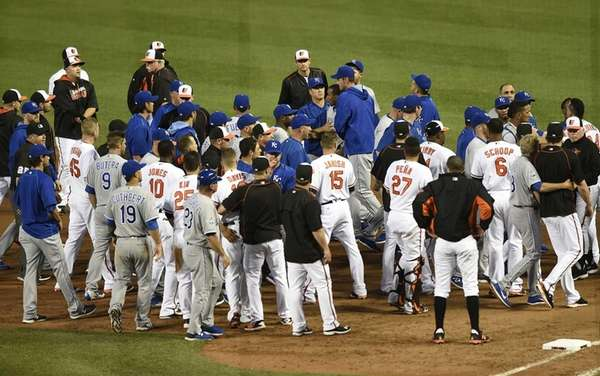 The Baltimore Orioles' and Kansas City Royals' benches