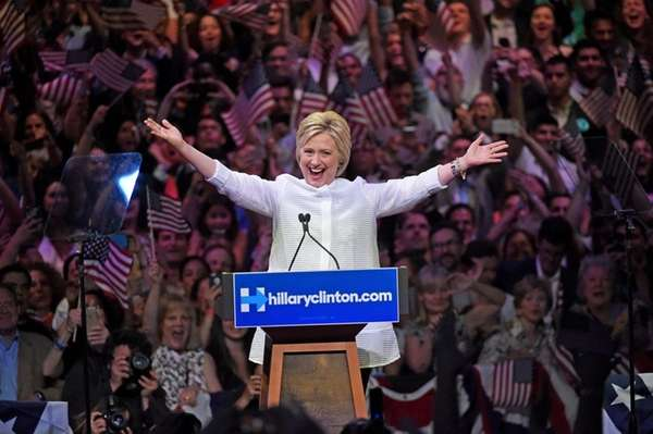 Democratic presidential candidate Hillary Clinton speaks to supporters