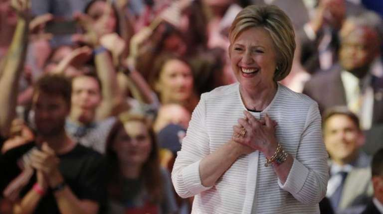Democratic presidential candidate Hillary Clinton arrives at a