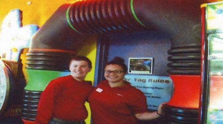 Kidsday reporter Jason Koabel, left, with employee Jennifer