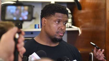 New York Jets tackle Ryan Clady answers questions