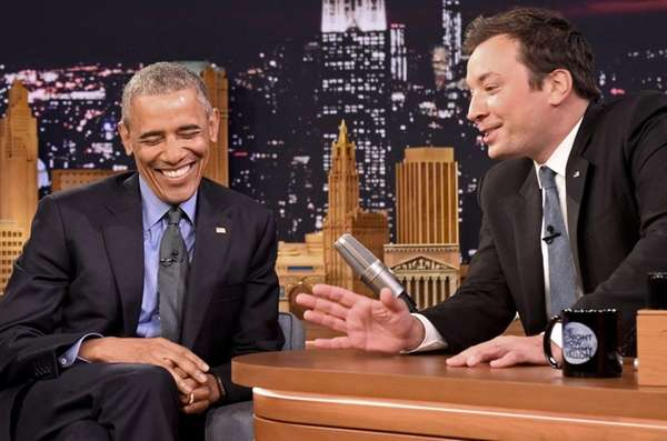 President Barack Obama speaks with Jimmy Fallon on