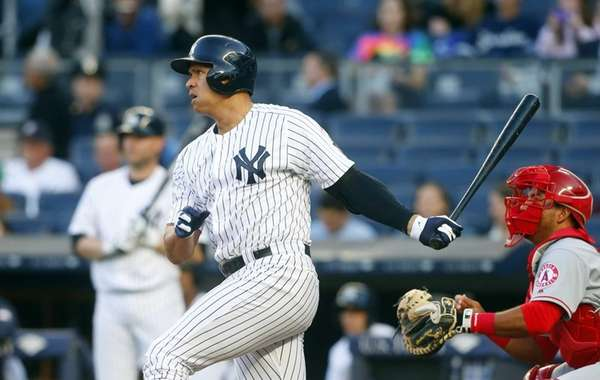 Alex Rodriguez of the New York Yankees follows