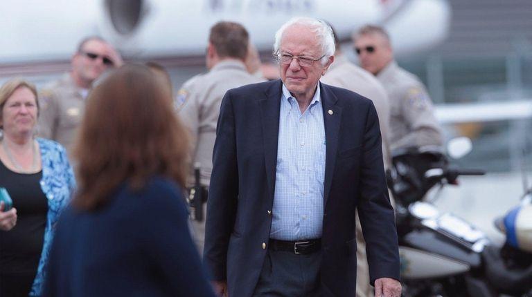 Democratic presidential candidate Sen. Bernie Sanders prepares to