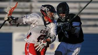 Matt Licciardi #6 of Cold Spring Harbor, left,