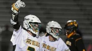 Christopher Grillo #3 of Ward Melville reacts after