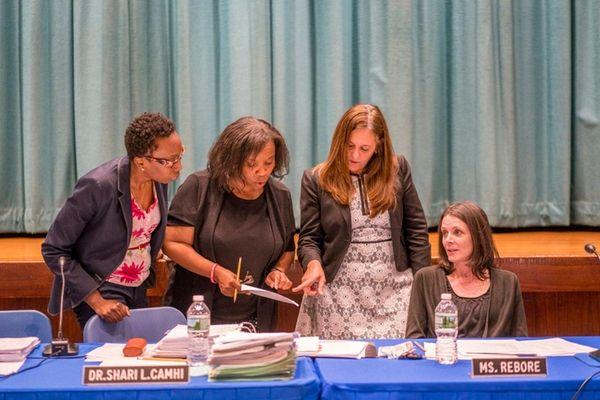 From left, Baldwin School Board Trustee Annie Doresca,