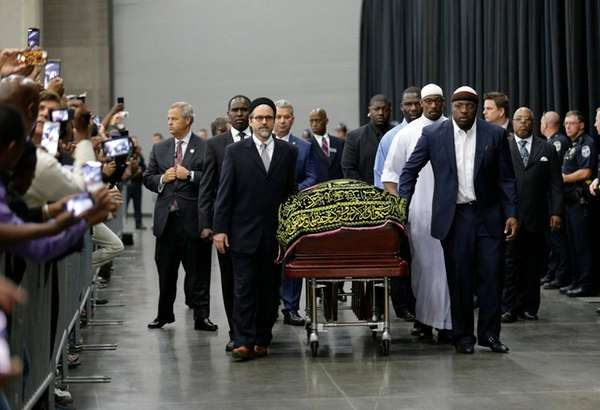 Muhammad Ali's coffin arrives at Freedom Hall in
