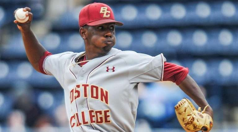 Boston College pitcher Justin Dunn throws against Tulane