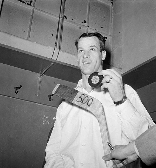 Gordie Howe of the Detroit Red Wings poses