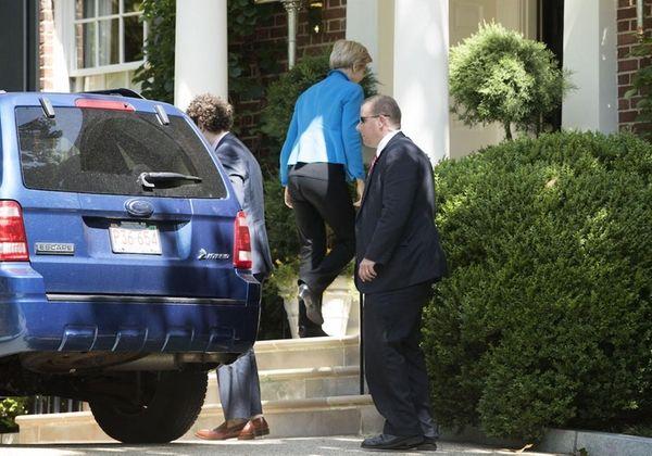 Sen. Elizabeth Warren (D-MA) arrives at the residence