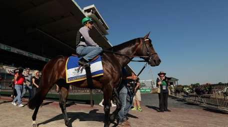 Jockey Kent Desormeaux rides Exaggerator onto the track