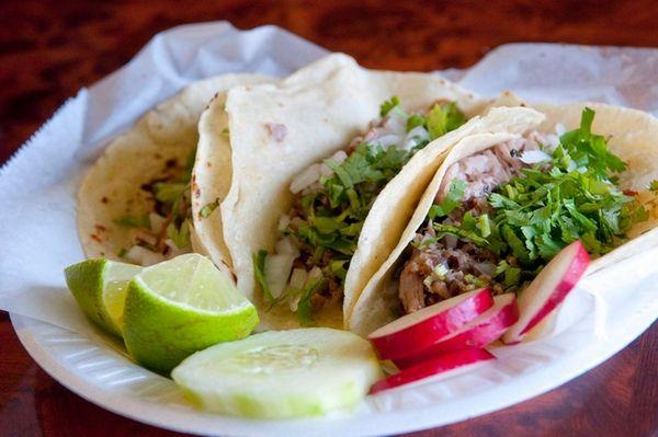 Carnitas tacos at Taqueria Mexico in Riverhead, Aug.