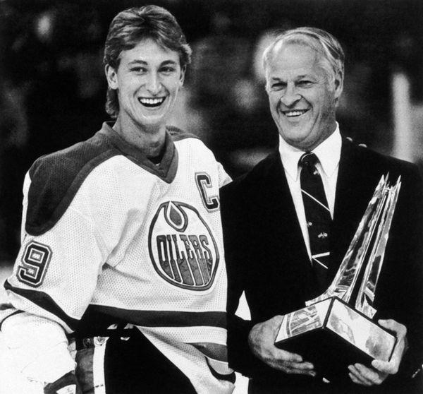 Edmonton Oilers team captain Wayne Gretzky is presented