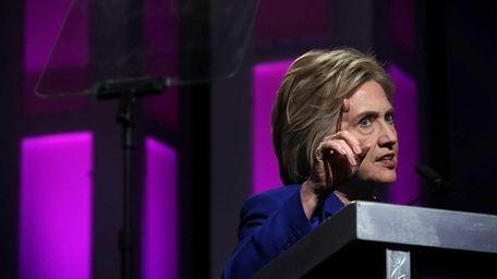 Presumptive Democratic presidential nominee Hillary Clinton speaks during