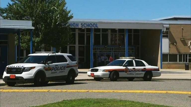 The scene outside Baldwin High School on Friday