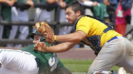 Shenendehowa's Joe Fraser is tagged by West Islip's