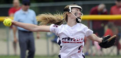MacArthur's Jess Budrewicz (9) pitches against Binghamton in
