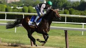 Jockey Kent Desormeaux rides Exaggerator during a training