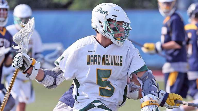 Ward Melville's Dominic Pryor moves inside during the