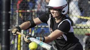 Clarke's Kirstin Cox bunts against Troy in the