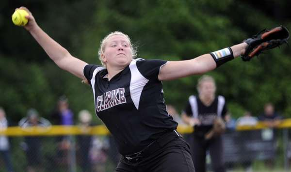 Clarke's Sarah Cornell pitches against Troy in the