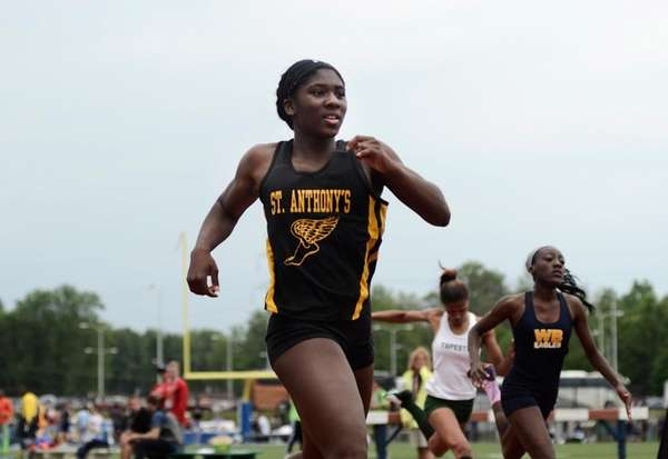 St. Anthony's Halle Hazzard finishes the Girls 200
