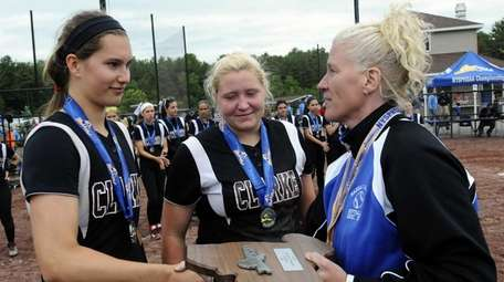 Clarke captians Brooke Scherer, left, and Sarah Cornell,
