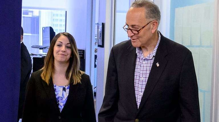 Sen. Charles Schumer arrives for a press conference