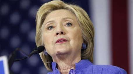 Democratic presidential candidate Hillary Clinton speaks in Culver