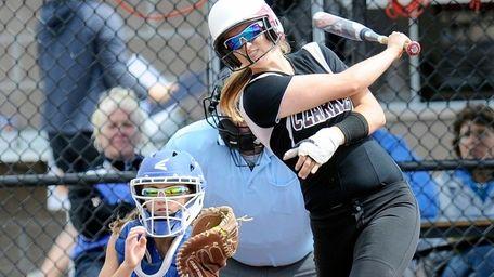 Clarke's Brooke Scherer bats with a broken left