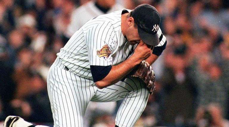 New York Yankees pitcher John Wetteland reacts after