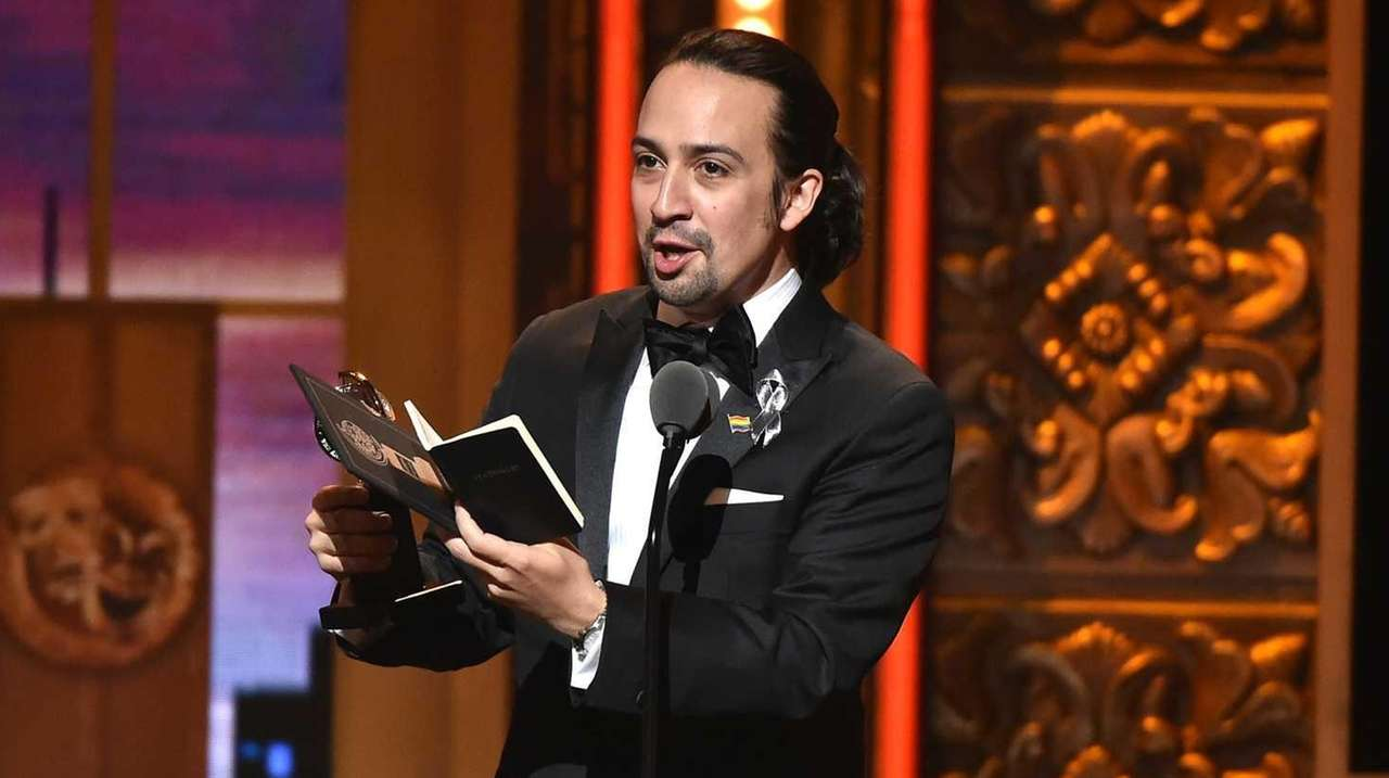 Lin-Manuel Miranda accepts the award for best book