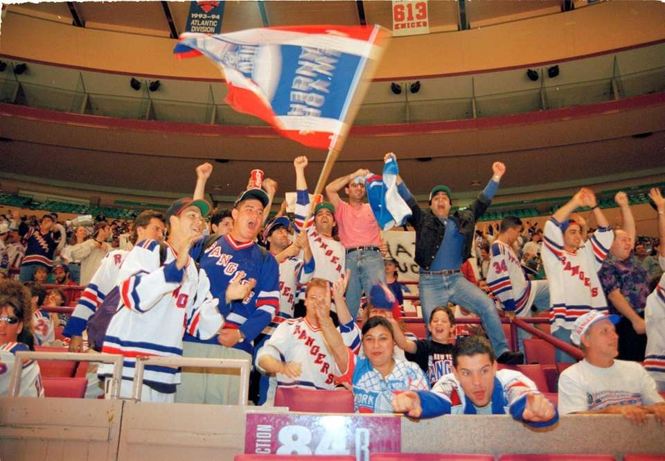 Rangers fans rejoice during Game 7 of the