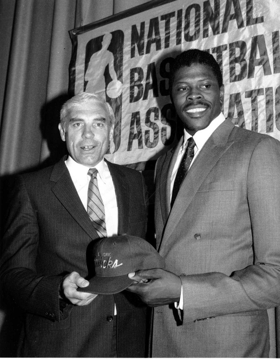 NBA No. 1 draft pick Patrick Ewing, right,
