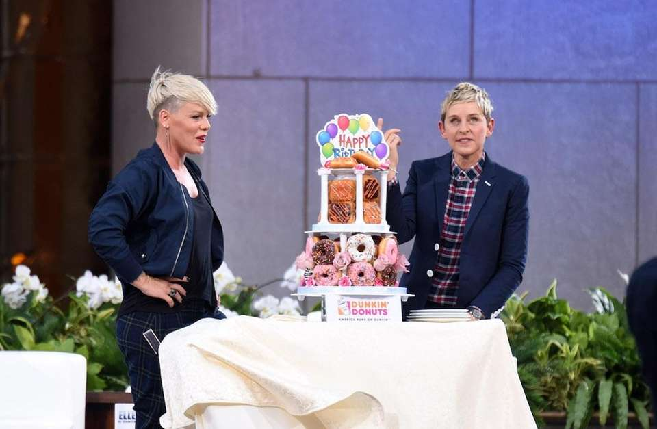 Pink and host Ellen Degeneres at 'The Ellen