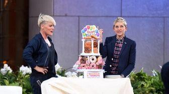Pink and host Ellen Degeneres at 'The Ellen