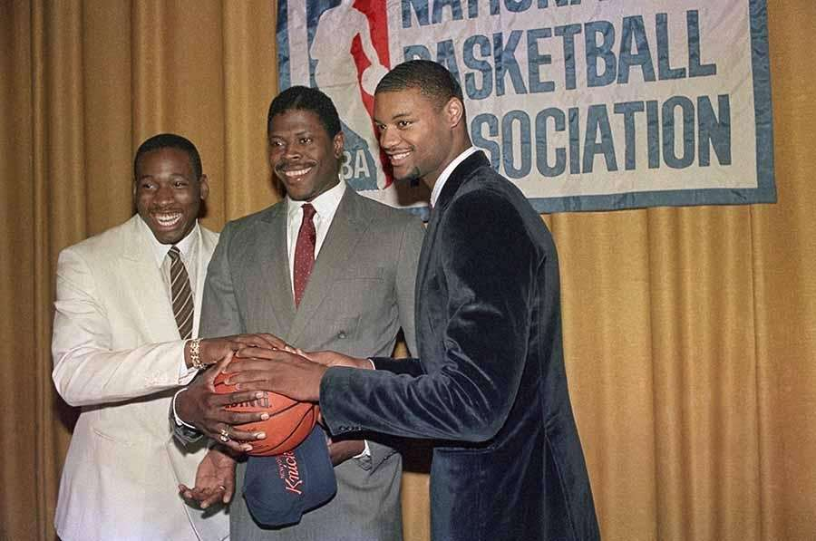 From left, Wayman Tisdale, Patrick Ewing and Benoit