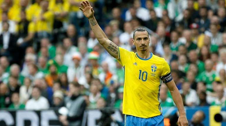 Zlatan Ibrahimovic of Sweden reacts during the UEFA