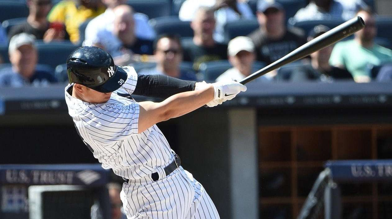 Yankees first baseman Rob Refsnyder grounds out against