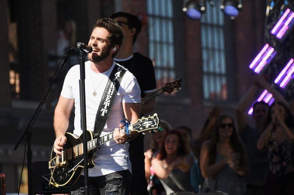 Singer-songwriter Thomas Rhett rehearses at Bridgestone Arena on
