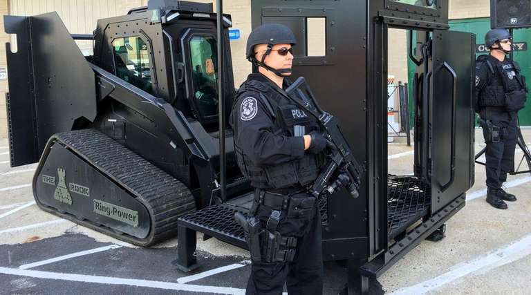Heavily armed tactical officers from the Nassau County