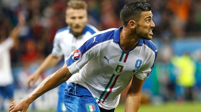 Italy's Graziano Pelle celebrates after scoring his side's